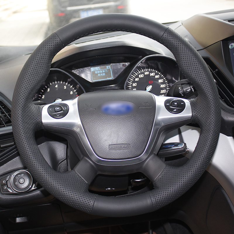 BANNIS Black Artificial Leather DIY Hand stitched Steering Wheel Cover for Ford Focus 3 KUGA Escape