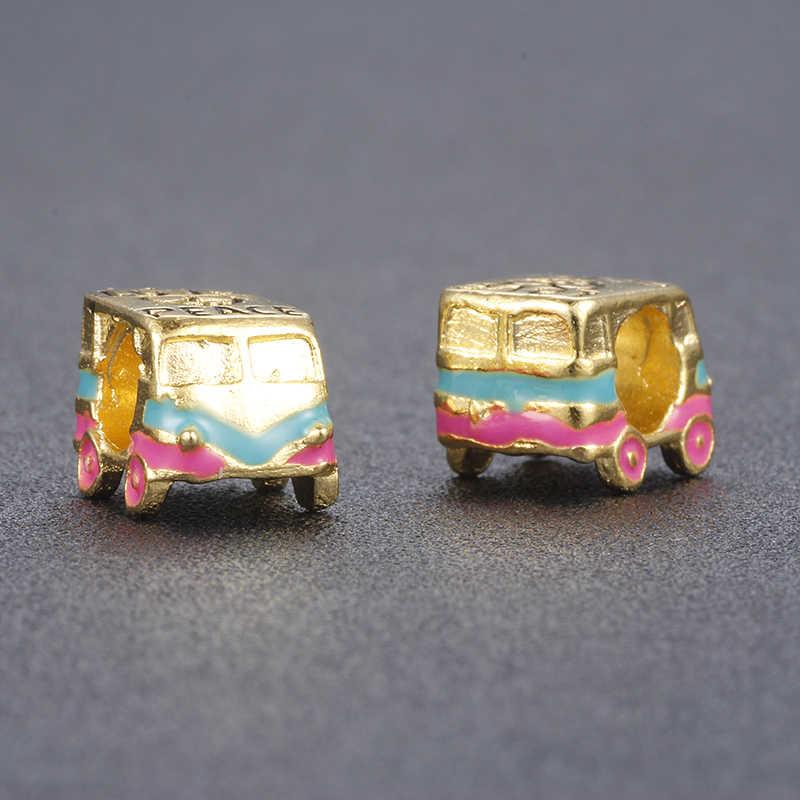 MISSITA Gold Color Enamel British Flag Car Bead London Bus Bead Fit Pandora Snake Chain Bracelet DIY Handmade Necklace