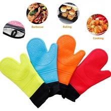 Food grade silicone insulation gloves oven baking anti-hot long plus cotton high temperature microwave