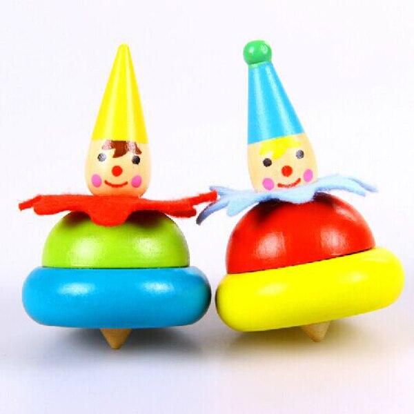 mini arco iris payaso trompo de madera juguetes para nios juguetes de giroscopios peonzas inicio juguetes