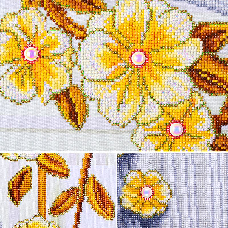 MURAN Flowers diamond embroidery Crystal diamond painting Cross Stitch Bright Round Vertical Decorative paintings 50X75cm in Diamond Painting Cross Stitch from Home Garden