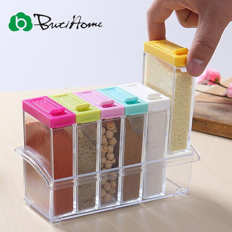Spice Jar Seasoning Can Sugar Bowl Transparent Colorful Lid Seasoning Box 6pc/set Kitchen Tool Salt Condiment Cruet Storage Box