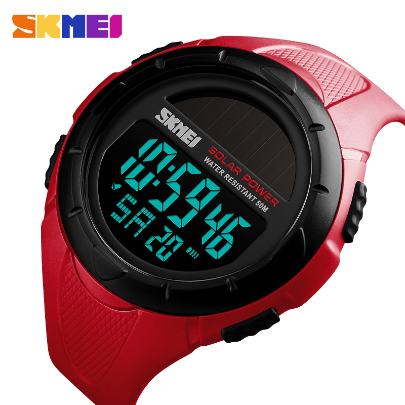 Skmei Outdoor Sports Mens Solar Power Watch Luminous Digital Watch Chrono 50m Waterproof Watch Relogio Masculino Wide Selection; Watches