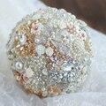 DIY 8 inch gold & ivory flower bridal brooch bouquet, Golden Wedding Bride 's Rhinestone Jewelry crystal Pearl Bouquets decor