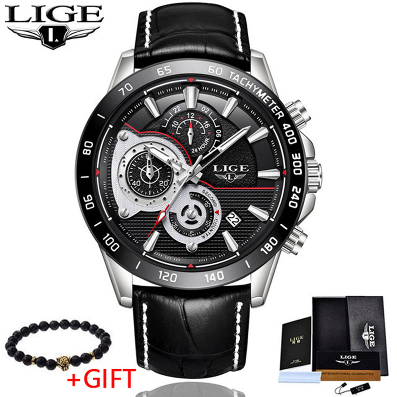 Mens Watches 2018 LIGE Top Brand Luxury Quartz Watch Men Casual Leather Military Waterproof Sport Wrist Watch Relogio Masculino