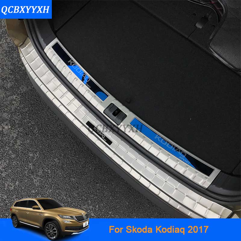 Стайлинга автомобилей из нержавеющей стали внутренний и внешний автомобиля задняя дверь порог отделка украшения Аксессуары для Skoda Kodiaq 2017