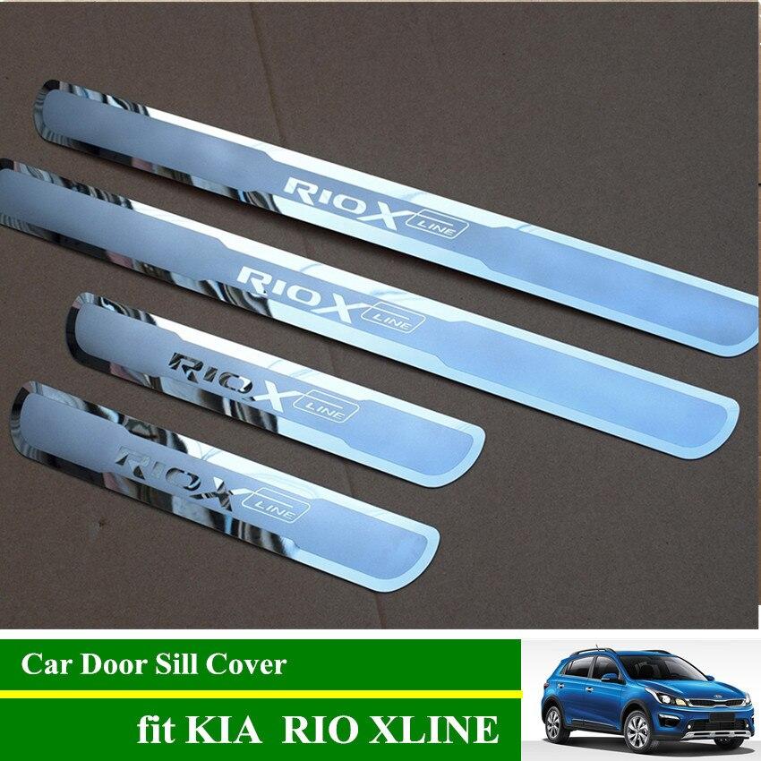 ריו X קו נירוסטה דלת אדן שפשוף צלחות רכב דלת אדן מגן כיסוי עבור קאיה ריו XLINE 2017 2018 2019