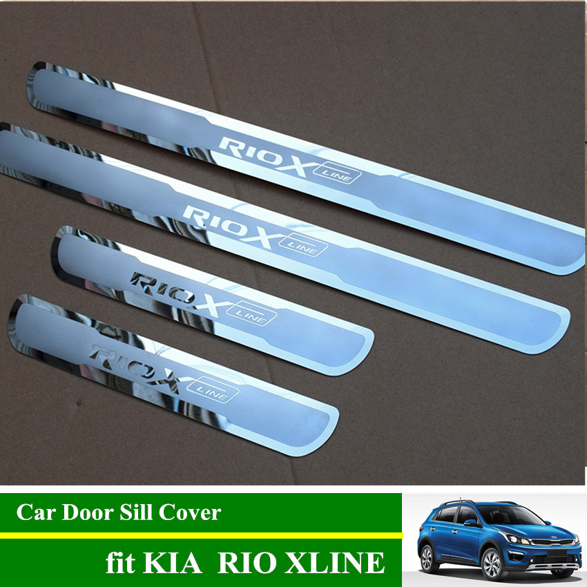 RIO X LINE Stainless Steel Door Sill Scuff Plates Car Door Sill Protective Cover for KIA RIO XLINE 2017 2018 2019