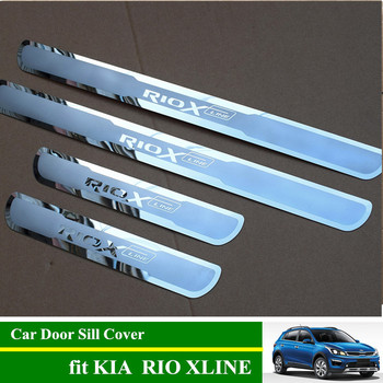 RIO X LINE Stainless Steel Door Sill Scuff Plates Car Protective Cover for KIA XLINE 2018 2019 2020