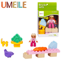 UMEILE NEW 14Pcs/set Big Building Block Girl Figure Tables Chairs Grape Hot Dog Banana Kids Toys Compatible with Legoe Duplo