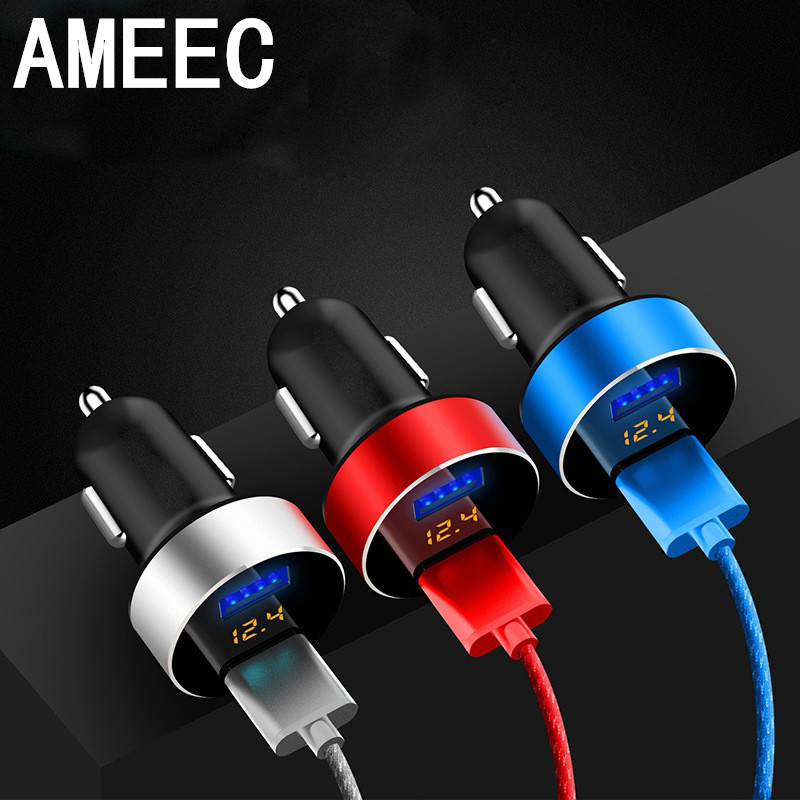 AMEEC Mental Dual USB Mini Fast Car Charger Hub Port 5V 3.1A Universal Car-Charger Mobile Phone Charge Adapter Auto Charging