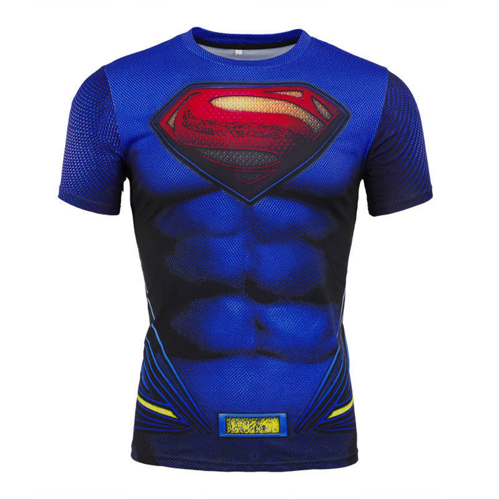 Cosplay Superman the Flash T-shirt Compression Quick-drying Breathable T-Shirt Short Sleeve Sports tops Halloween