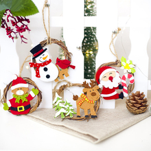 New Christmas Wooden Pendants Tree Creative Painting Stitching Decorative Hanging Party Decorations for Home