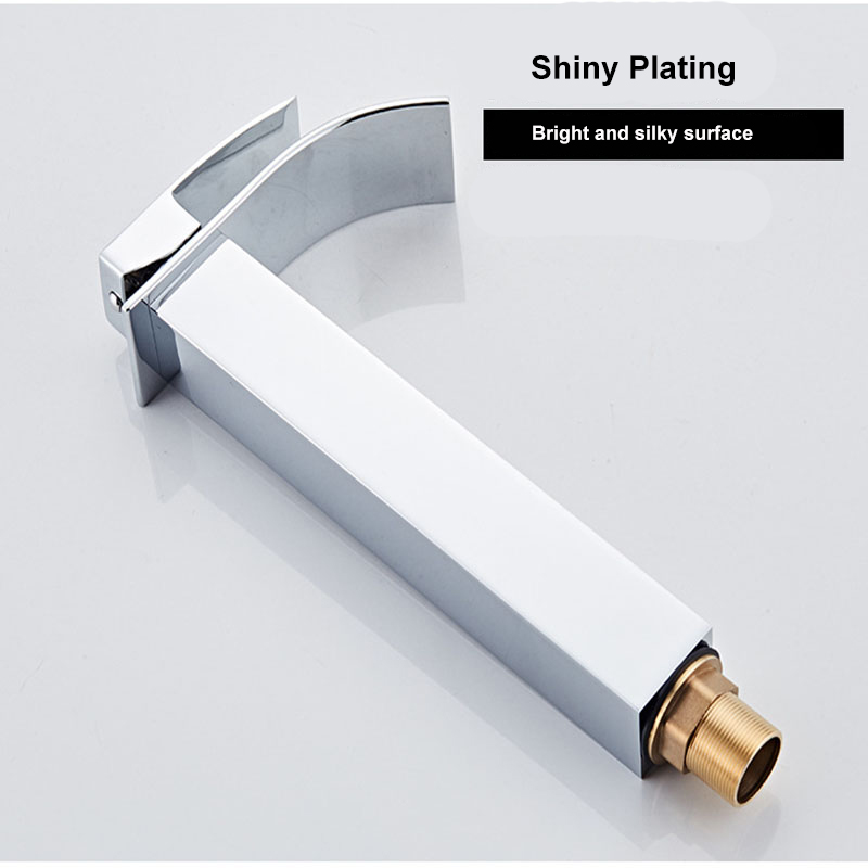 Yieryi Long/Short Foursided Basin Faucet Wide Mouth Waterfall Faucet Bathroom Basin Hot And Cold Wrench Type Copper Alloy Faucet