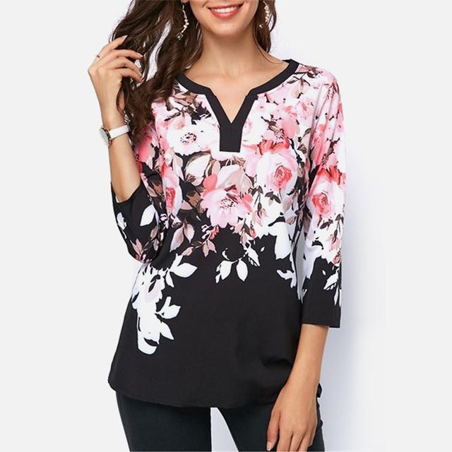 Women's Floral V-Neck Boho Tee