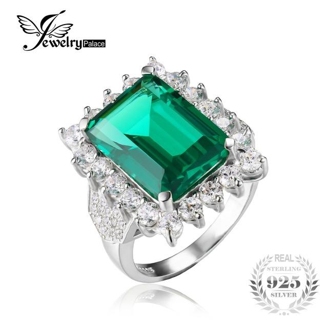 Jewelrypalace luxo 6ct criado nano rússia emerald sólido 925 prata esterlina anel de declaração para mulheres finas jóias nova marca