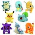 8 unids/set Kawaii juguetes De Peluche Pokemon Pikachu/Charmander/Gengar/Bulbasaur/Squirtle/Dragonite/Snorlax Peluche muñecas juguetes para niños de Regalo