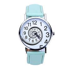 2017 New Fashion Women Designed Swirl Pattern PU Leather Analog Quartz Women Wrist Watch Relojes De Marca Mujer