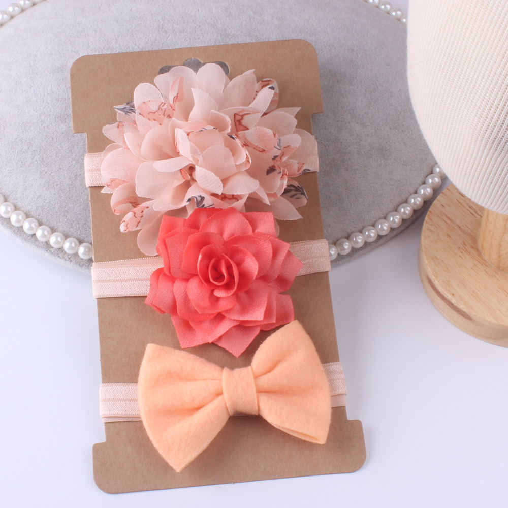 3pcs Baby Girls Headband Set Bow Knot Head Bandage Kids Toddlers Headwear Hair Band Infant Clothing Accessories