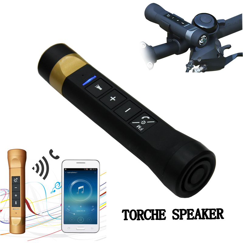 4 in 1 Bike Cycling Camping Portable Multi-Functional Music Torch Flashlight Bluetooth Speaker MP3/FM Radio/Power Bank/Handfree