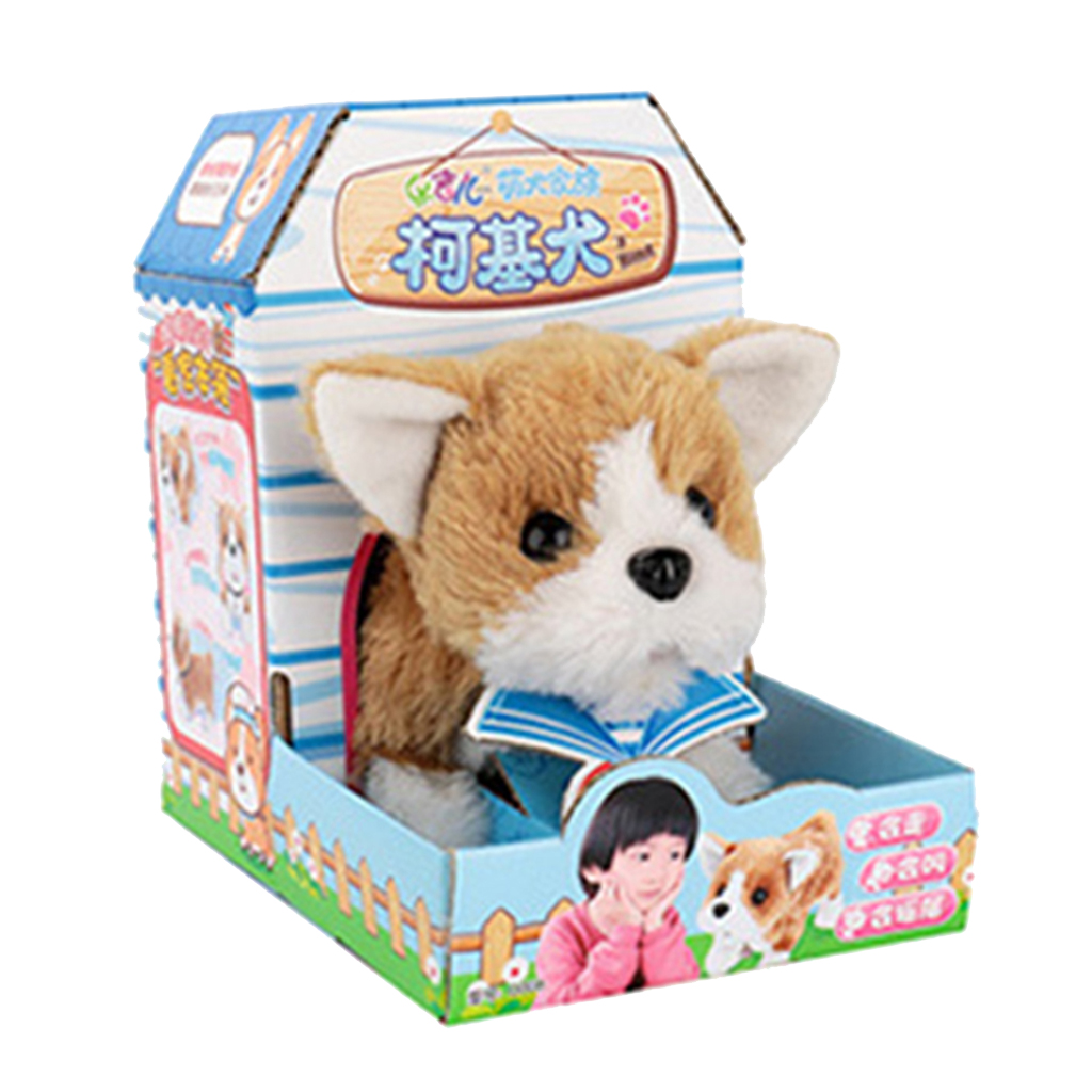 Smart Electronic Interactive Puppy Dog Pet Soft Plush Animal Robot Kids Baby Toys Walks & Barks Wag Tail Jump - Welsh Corgi