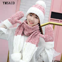 Fashion Women Winter Hats Scarf Gloves Thick Velvet Wool Knitted Hat Accessories Set Female Male Beanie Scarf Gloves Ski 3pcs