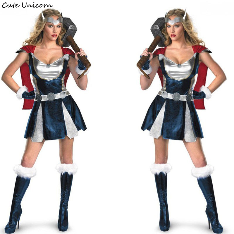 Superhero Women Halloween Sassy Thor Cosplay Costume with Cloak female Carnival Dress girls sexy outfit Warrior Costumes