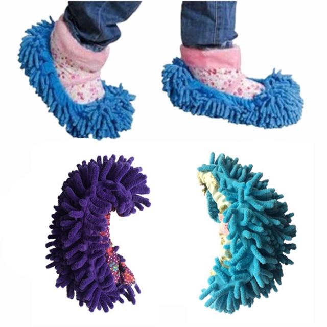 8e480c50629 1PC Polar Fleece Non Slip Shoe-cover Mop Lazy Man Floor Rag Dawdler  Indoorsy Household