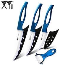 Синие кухонные ножи с полой ручкой 3,4, 5 дюймов+ Овощечистка, высокий класс керамический нож, набор из 4 предметов, горячая распродажа, XYJ, фирменные кухонные инструменты