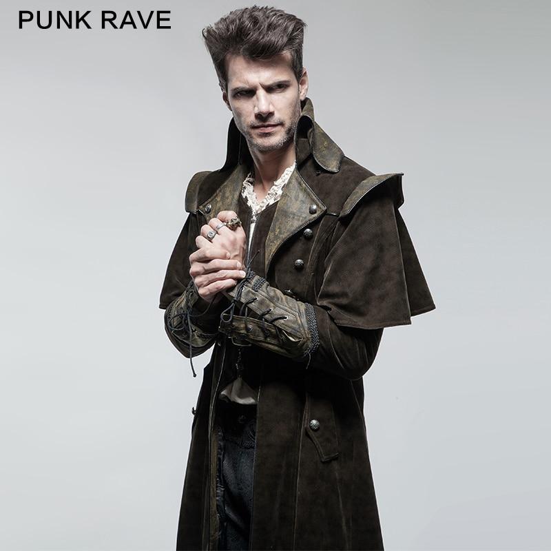 Punk Rave Clothing Cool Killer Men Long Coat with Cape