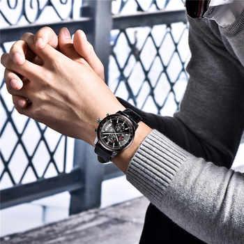 2019 New BENYAR Top Luxury Brand Men Fashion Blue Watch Men\'s Business Quartz Chronograph Leather Wristwatch Relogio Masculino