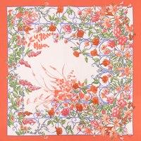 Bufanda de color naranja de Las Mujeres Floral Impreso Pañuelo Hijab Foulard Bufandas Cuadradas de Moda Diseño Original Cabeza Chales Mujer Wrap NUEVA