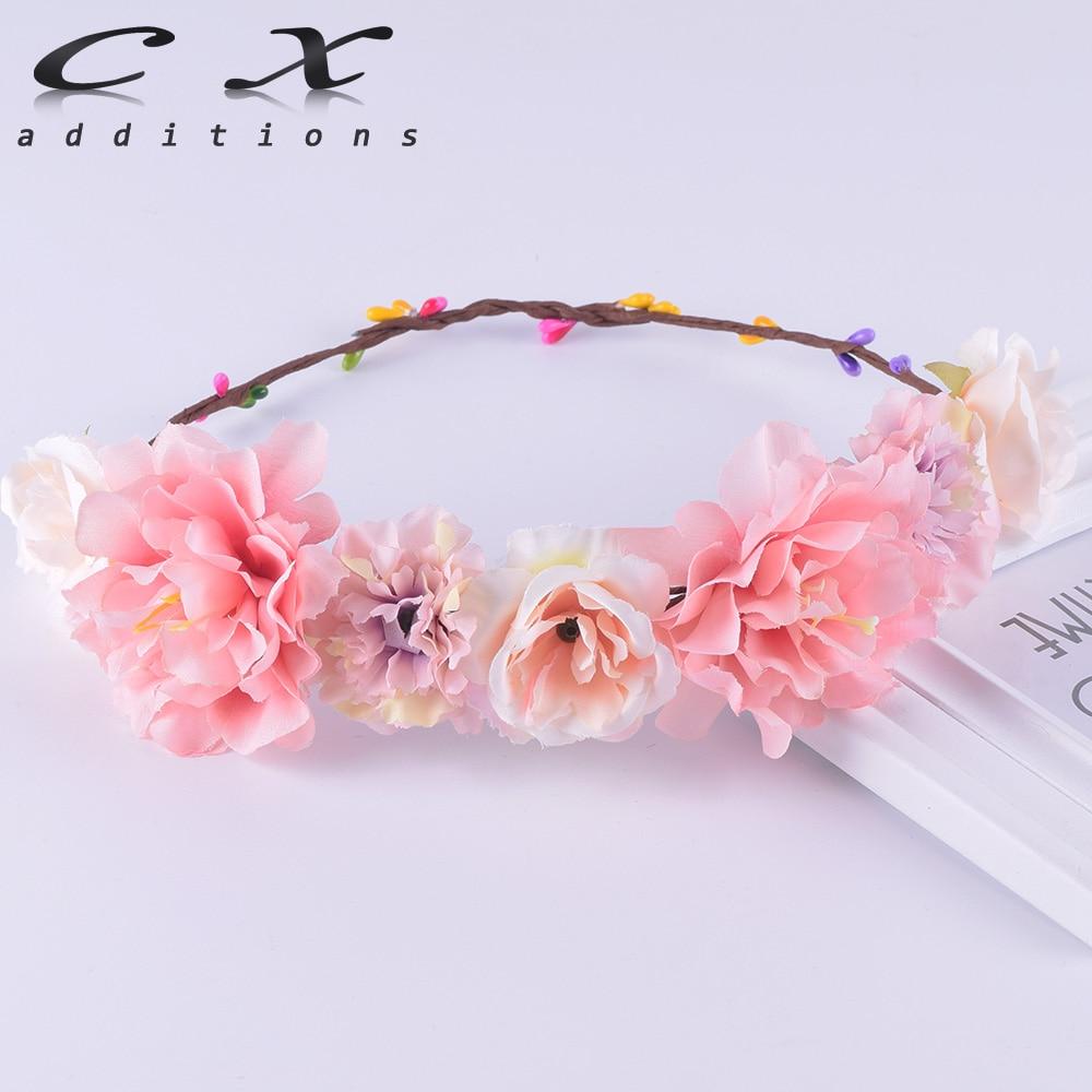 CXADDITIONS Rose Carnation Peony Flower Crown Bridal Floral Headband Wreath Wedding HairBands Hair Accessories Women Bridesmaid