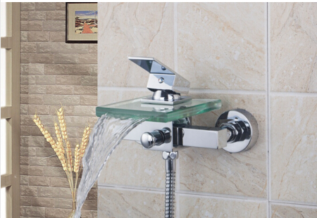 Hot Sale Bath & Shower Faucets Square Wall Mounted Waterfall Glass Spout Bathroom Bath Handheld Shower Tap Mixer Bathtub Faucet hot sale c shaped waterfall acrylic occasional side table