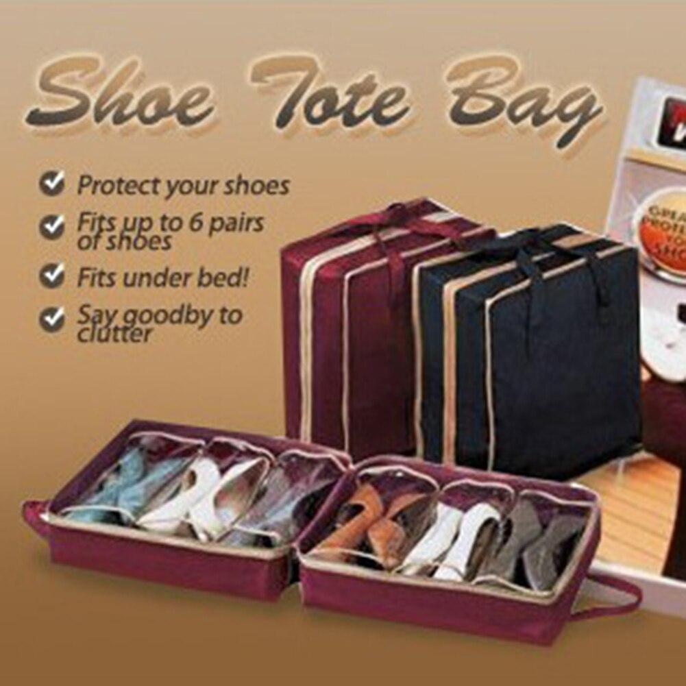 Non-woven Shoe Organizer Fabric Travel 6 Grids Anti Dust Shoe Storage Bag Travel Shoes Portable Storage Bags 2colors Available
