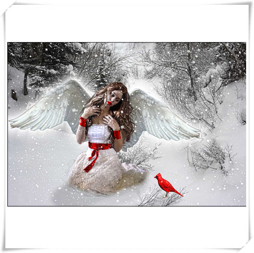 Snow angel and red bird Full Square stone 5D DIY Diamond Painting Embroidery Cross Stitch Rhinestone Mosaic Decor Gift YF1101
