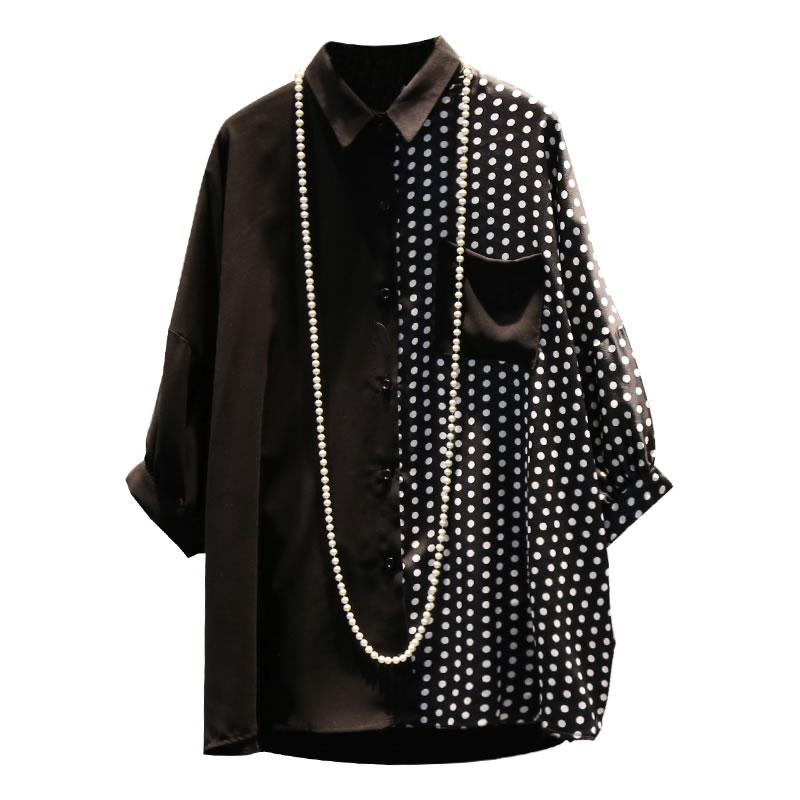 [XITAO] 2019 New Europe Casual Loose Three-quarter Sleeve Button Polka Dot Turn-down Collar Fashion  Summer Blouse   WBB3384