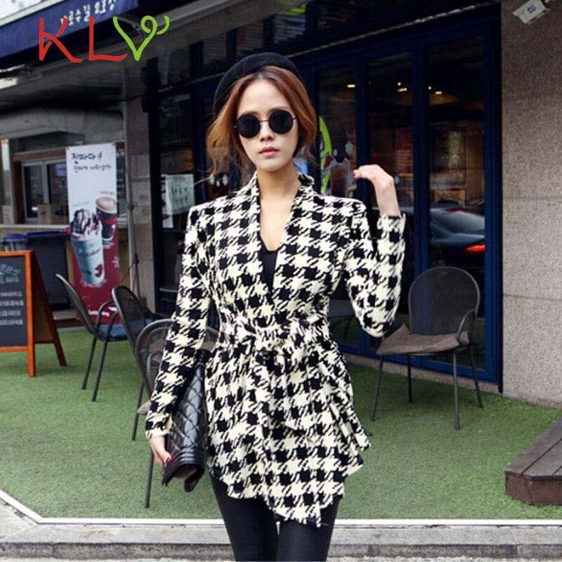 New Autumn Fashion Outwears Korean Women Jackets Cotton Blend Houndstooth Pattern Thin C ...