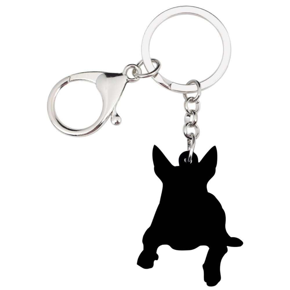 WEVENI acrílico americano Pit Bull Terrier perro llaveros colgantes anillos lindo Animal joyería para mujeres niñas bolso encanto a granel