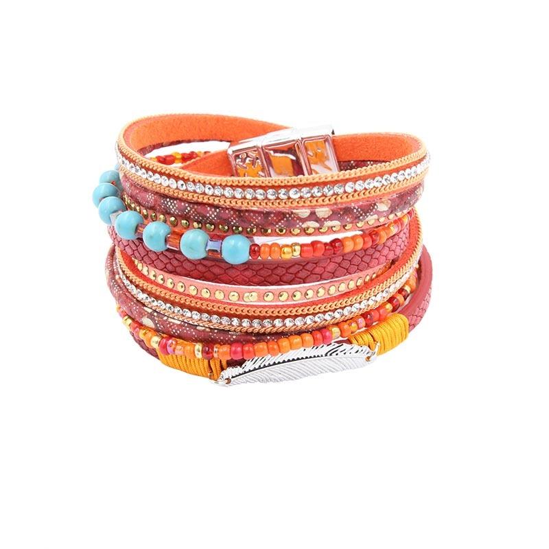 Armband PU-läderarmband & armband för kvinnor Flera rader blad - Märkessmycken - Foto 3
