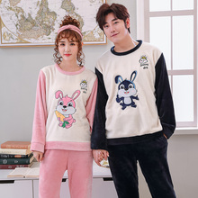 New Fashion Coral Corvet Warm Lovers Homewear Suits Casual Men's Flannel Couples Pajamas Cartoon Rabit Sets