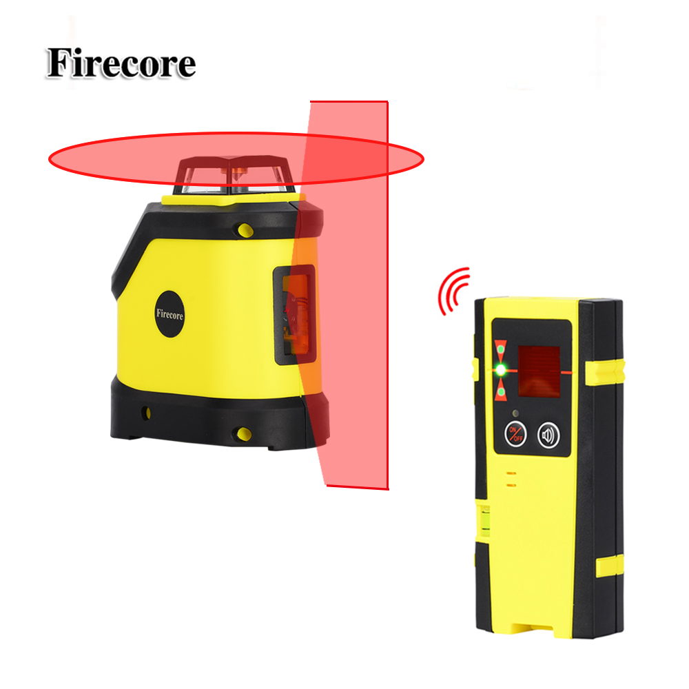 Firecore F190R 5 Lines Laser Level 4 Degrees Self- Leveling Cross Red Laser Beam +Outdoor Receiver