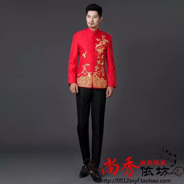 Broderie Robe S Vêtements blanc Tunique Formelle Nouvelle bleu rouge Et Blanc Mode Hommes Bleu Porcelaine Chinois Noir Mince De 2017 Costume 3xl Costumes q668rgApw