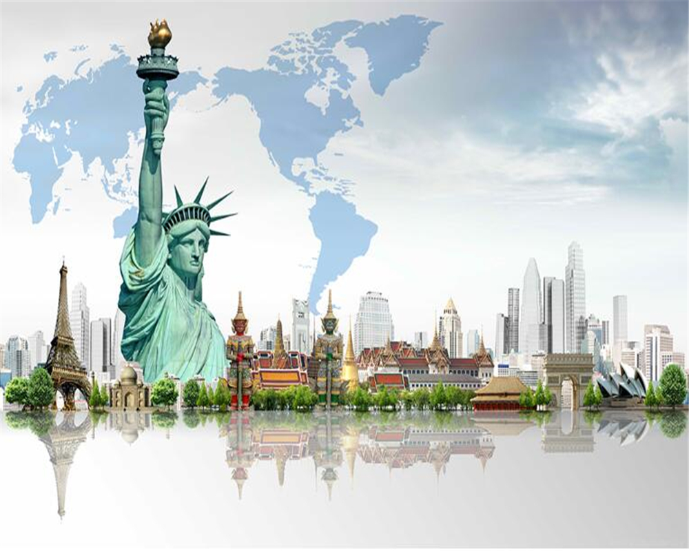 US $8.55 43% OFF beibehang hudas beauty Custom Personality American  Building behang Statue of Liberty Wallpaper Map wallpaper for walls 3 d-in  ...