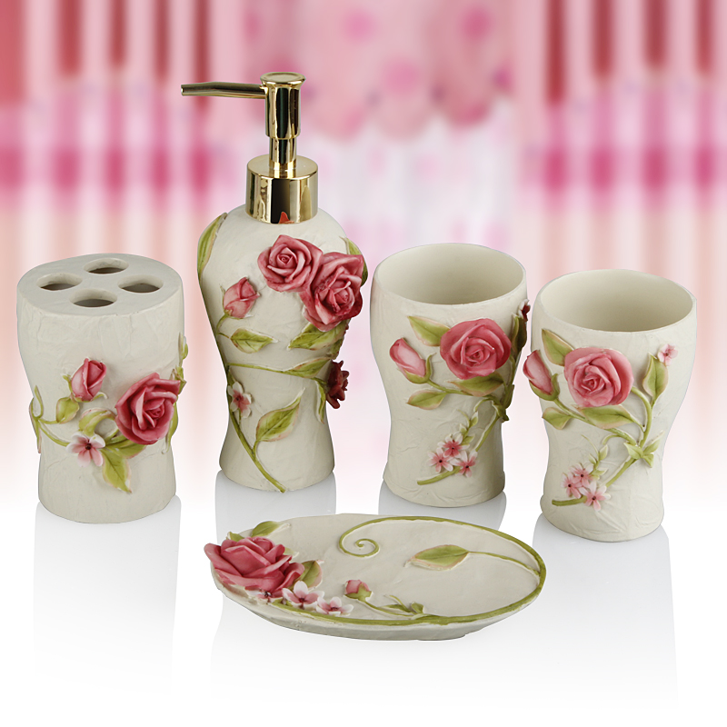 Pink Rose Five Pieces Set Of Bathroom Resin Accessories Wedding Gift In Sets From Home Garden On Aliexpress