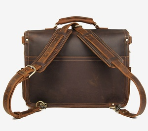 "Image 3 - Genuine Leather Men Handbag Vintage Crazy Horse Leather Messenger Bag 15.6"" Laptop Briefcase Multi Function Shoulder Bags Travel"
