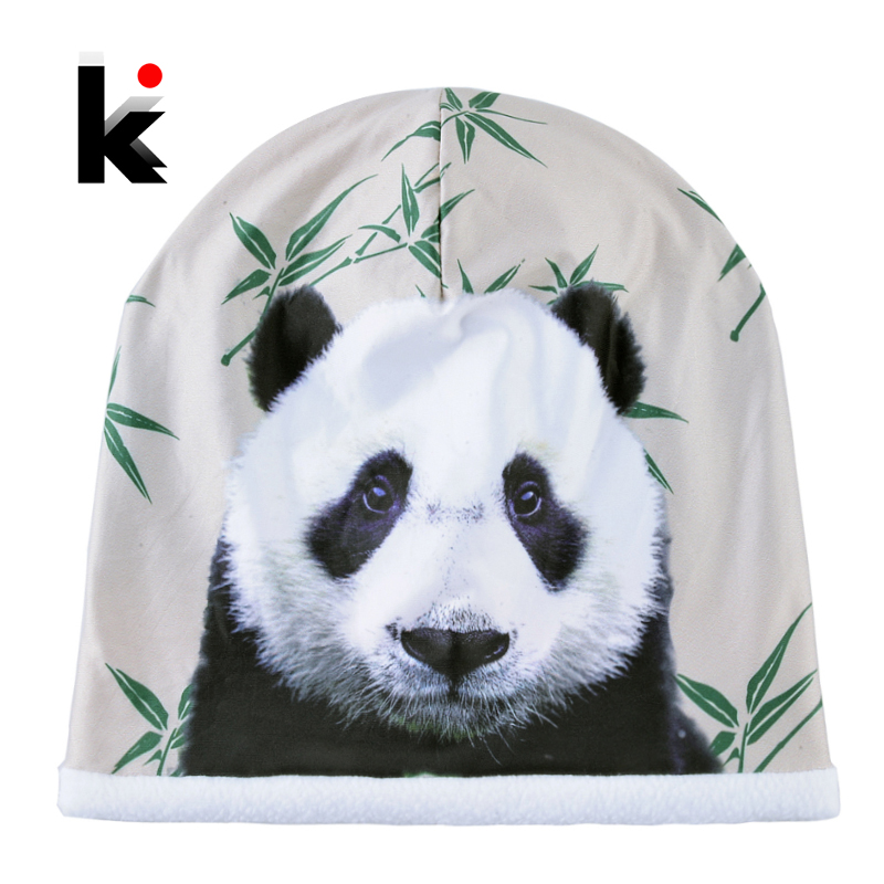 2018 Winter Skullies Beanies Women Cute Panda 3D Printing Hats For Men Fashion Personality Hip Hop Bonnet Caps Unisex Gorros