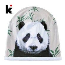все цены на Winter Skullies Beanies Women Cute Panda 3D Printing Hats For Men Fashion Personality Hip Hop Bonnet Caps Unisex Gorros онлайн