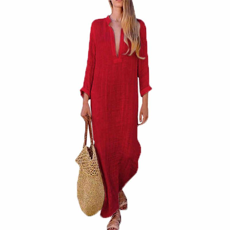 e1d5f7c5fb9 ... Sexy Women Vintage Ethnic Style Boho Dresses Casual 2018 New Cotton  Linen Long Sleeve Maxi Dress ...