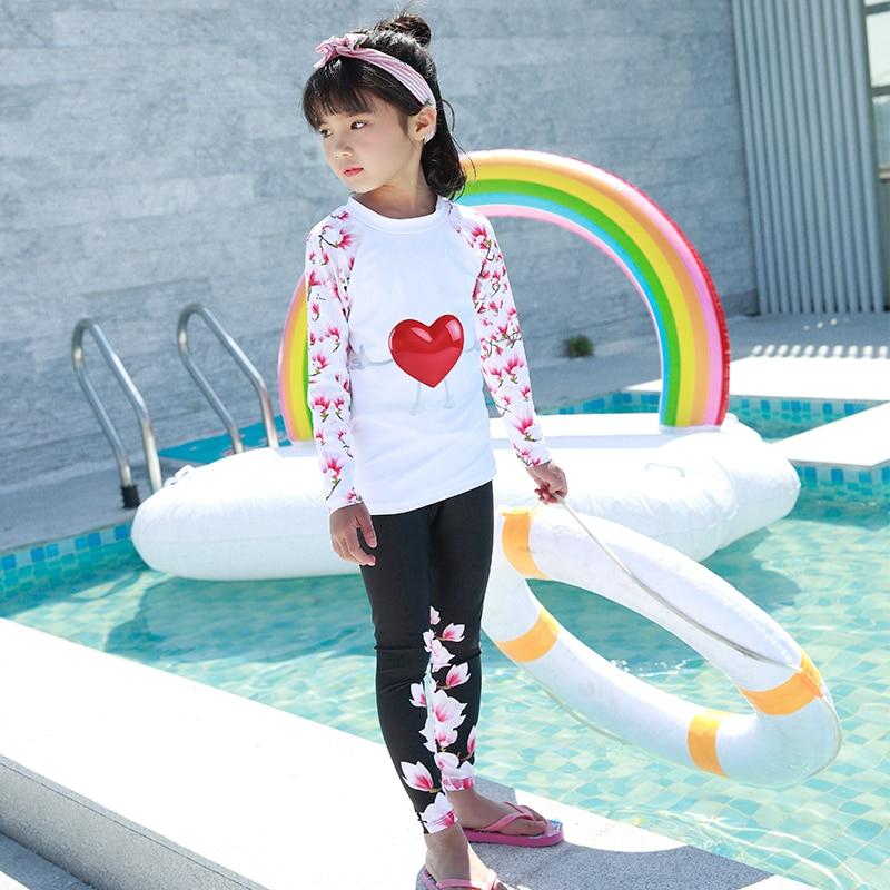31594686ec8e0 2018 Hot sale girls two piece swimwear 4XL plus size swimsuit summer sport  surfing suit long sleeve beachwear chirldren bodysuit-in Children s Two- Piece ...